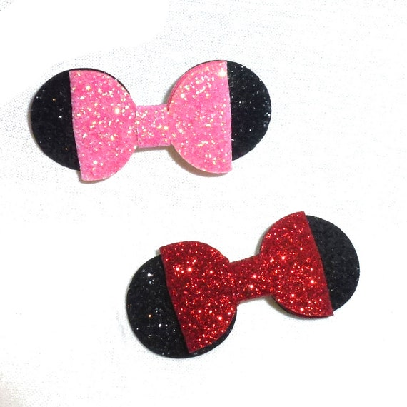 Puppy Bows ~ Pink or red Minnie glitter pet hair bow with plastic ball clip barrette  (fb143)