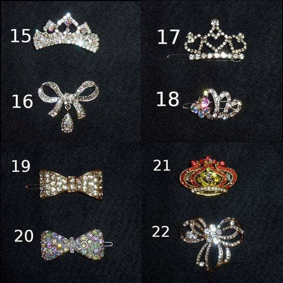 Puppy Bows ~ Rhinestone TIARA multi styles dog hair barrette clip CRYSTAL styles 15-22 ~USA seller