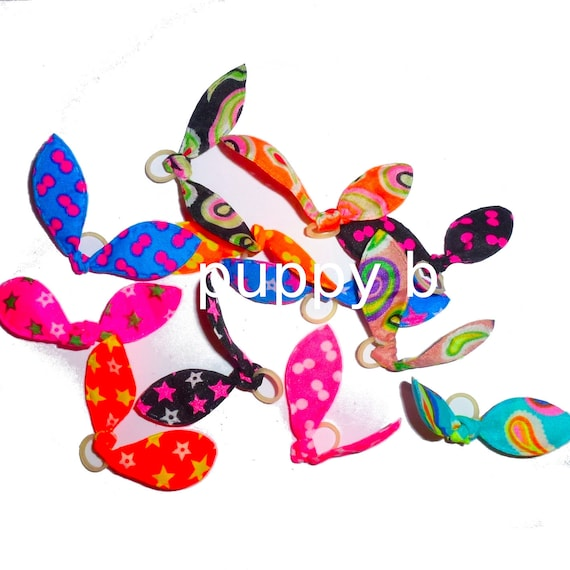 Puppy Dog Bows ~ 12 BOWS ONLY 3.99!  cute stylish pet hair bow multi colors with latex bands (fb200)