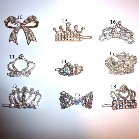 Puppy Bows ~Styles 10-19  rhinestone dog TIARA barrette pet hair clip ~USA seller