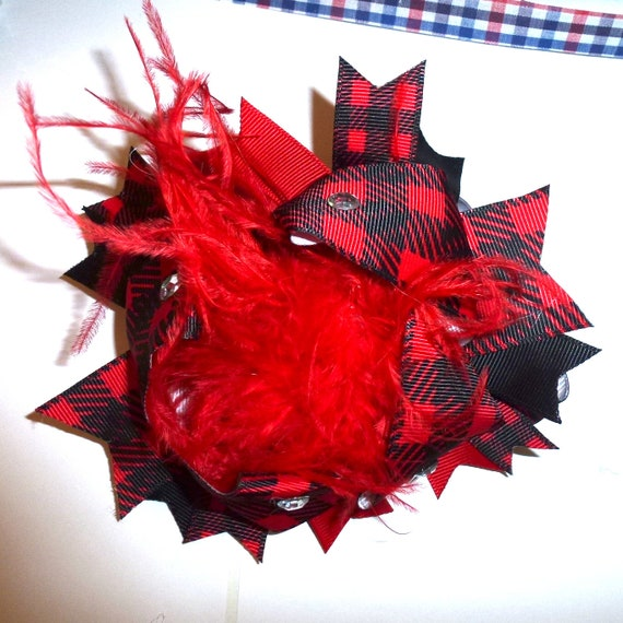Puppy Bows ~ Dog collar slide bow large dog hair bows Red black buffalo plaid marabou boa feather ~USA seller (dc8)
