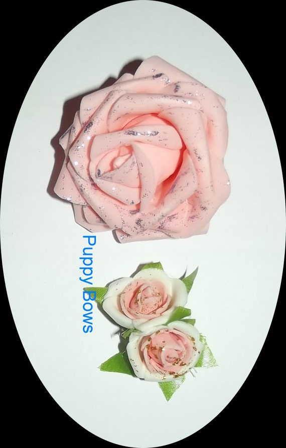Puppy Bows ~Barrette POODLE collar rose EAR bow pink roses dog grooming   ~USA seller