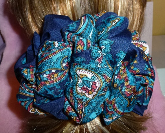 Becky Bows ~  Barrette scarf Hand crafted oversized  BIG hair bow Women or Girls burgundy navy blue paisley