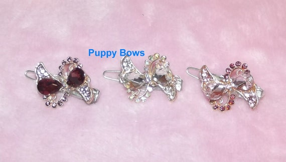 "Puppy Bows ~ CLEARANCE SALE Wee super tiny hair clips for dogs bow pet barrette pink purple crystal 1""~ US Seller"