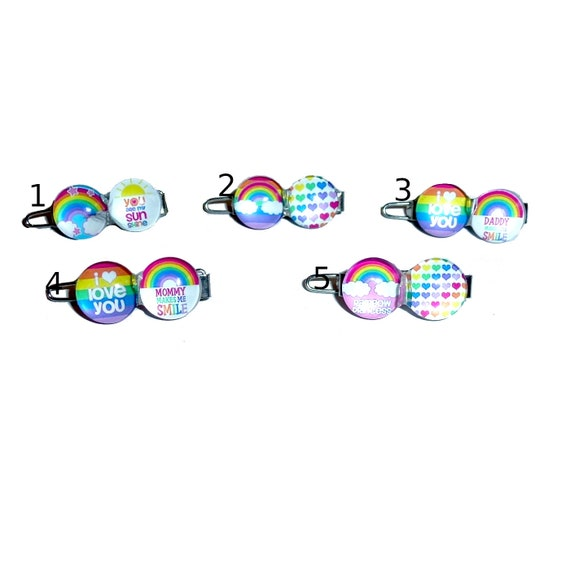 """Puppy bows TINY 3/4""""  rainbow I love you Mommy Daddy   pet hair barrette clip (fb90)"""