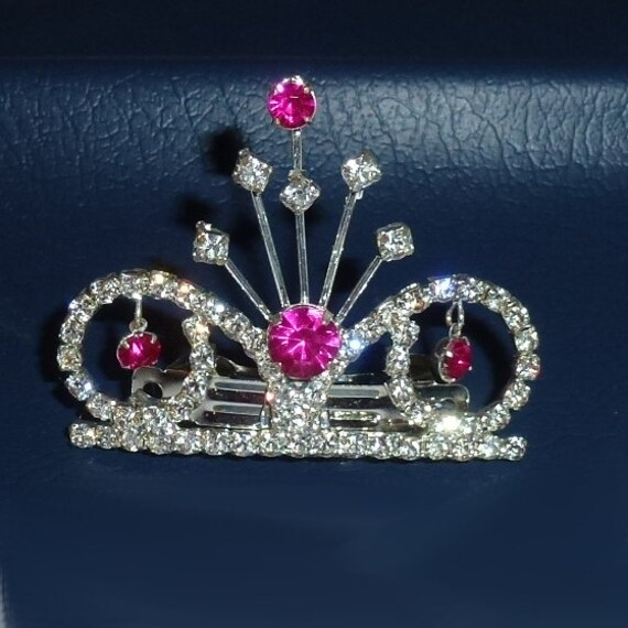 """Dog tiara 2"""" wide pink dangles crystal spray french barrette (rb94)"""