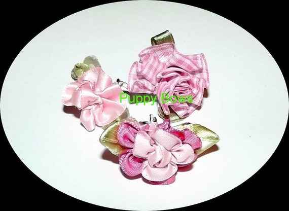 Puppy Bows ~ Set of 3 pink carnation jaw clip dog bow flowers or 2 flowers or 3 flowers!