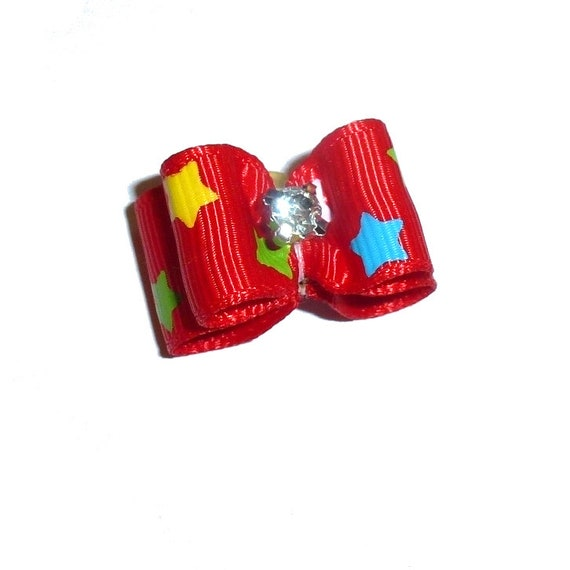 """Puppy bows ~ 5/8"""" red star pet hair show bow barrettes or bands (FB290a)"""