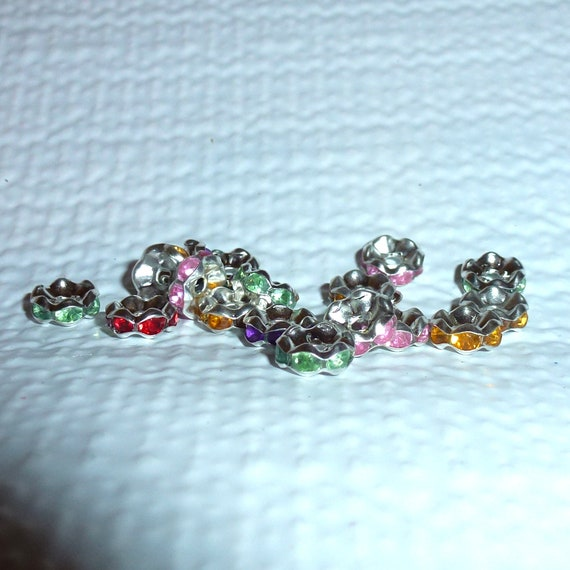 Puppy Bows craft items ~  Rhinestone rondelles multi color 90 purple gold green red 6mm