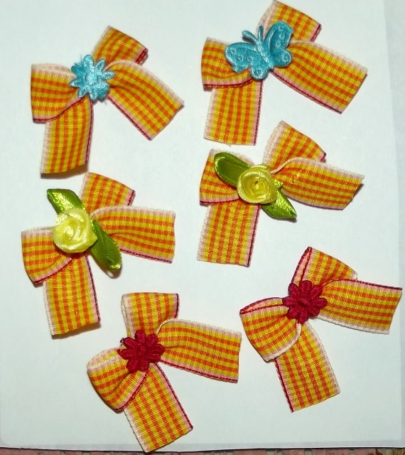 Puppy Bows ~6 orange yellow gingham EVERYDAY BOWS Yorkie Maltese Shih Tzu ~Usa seller (fb81)