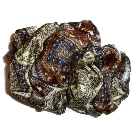 Becky Bows ~  Barrette  chiffon large vintage style scarf Hand crafted over sized  BIG hair bow Women brown paisley