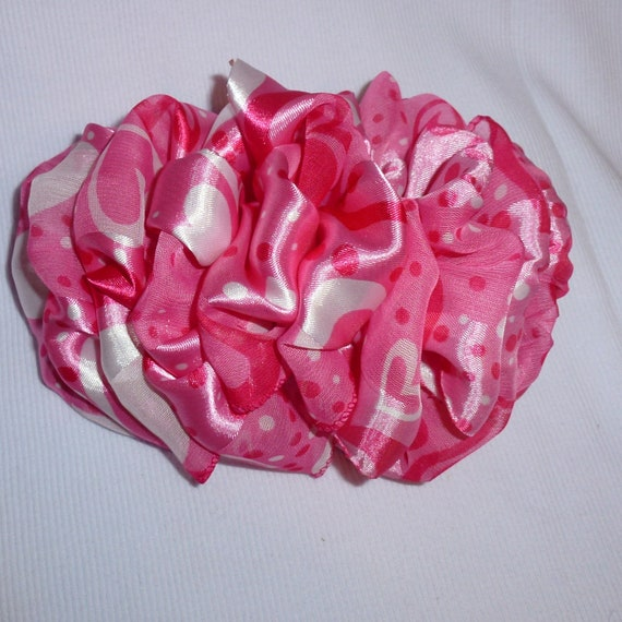 Becky Bows ~  Barrette scarf Hand crafted oversized  BIG hair bow Women or Girls  pink hearts