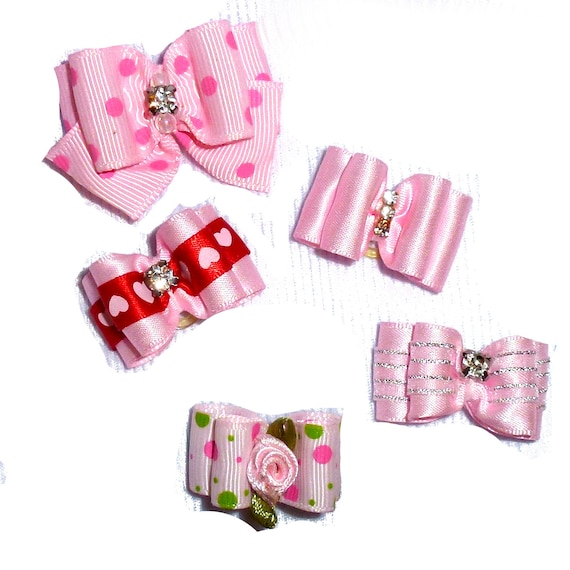 Puppy Bows ~Pink bows for dogs 5 show bows dog bow  pet hair clip barrette or latex bands (sb1)