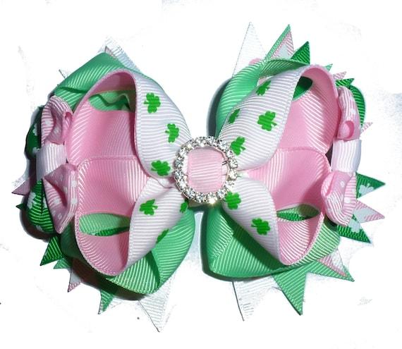 Puppy Bows ~ St. Patrick's day rhinestone pink green dog collar slide flower barrette hair accessory  ~USA seller (fb162)