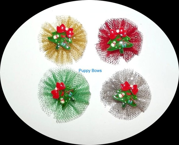 Puppy Bows ~ CHRISTMAS ballerina tulle TREE round pet hair bow gold silver red green  (fb50)