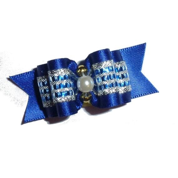 "Puppy Bows ~  Satin royal blue silver  dog show bows  5/8"" double loop ~USA seller"