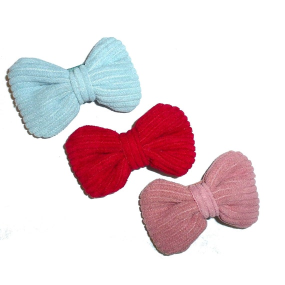 Puppy Bows ~ Corduroy Bow tie hair bow or dog collar slide accessory   (fb210)
