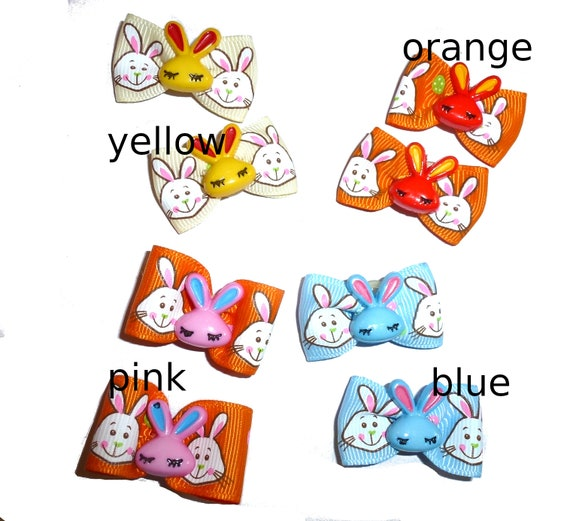 Puppy Bows ~  Easter bow pair pigtail bunny rabbit ear bows (FB313)
