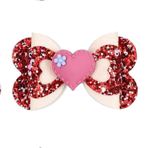 """Puppy Bows ~ Red heart cut out 2.5"""" glitter pet hair bow  (fb275)"""