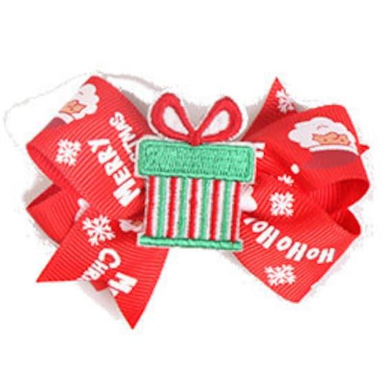 Christmas penguin tree package Santa Claus c0llar slide dog barrette bow hair clips for pets ~  (fb124)
