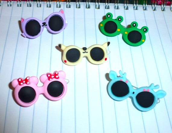 Puppy Bows ~ Animal Dog bow sunglasses pink mouse purple cat green frog pet hair barrette clip (fb32)