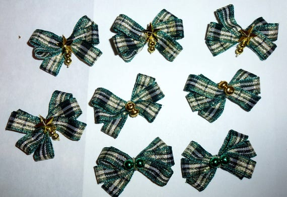 Puppy Bows ~8 green gold  EVERYDAY BOWS Yorkie Maltese Shih Tzu ~Usa seller (fb81)