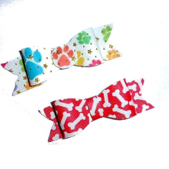 Puppy Bows ~Paw prints or dog bones red dog pet  hair bowknot bow bands or barrette or collar slide ~USA seller