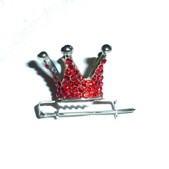 Tiny red rhinestone crown dog bow  pet hair clip topknot barrette