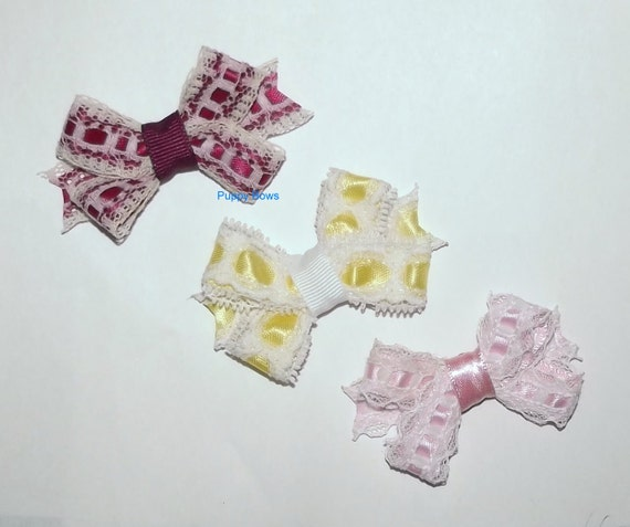 "Puppy Bows ~3 lovely lace bow 2"" dog hair pet comb clip barrette pink yellow ~Usa seller"