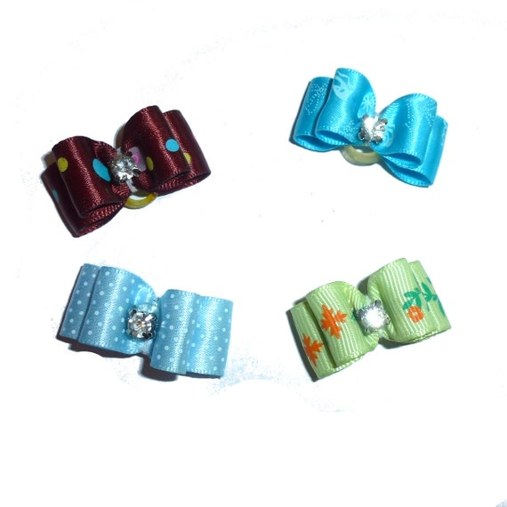 """Puppy Dog Bows ~ 5/8"""" satin bowknot SET OF 4! boys pet hair show bow barrettes or bands (FB164/29)"""