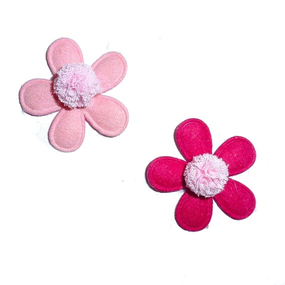 Puppy Bows ~ PAIR pom pom flowers  padded dog barrette or bands  pet hair bow  - (fb323)