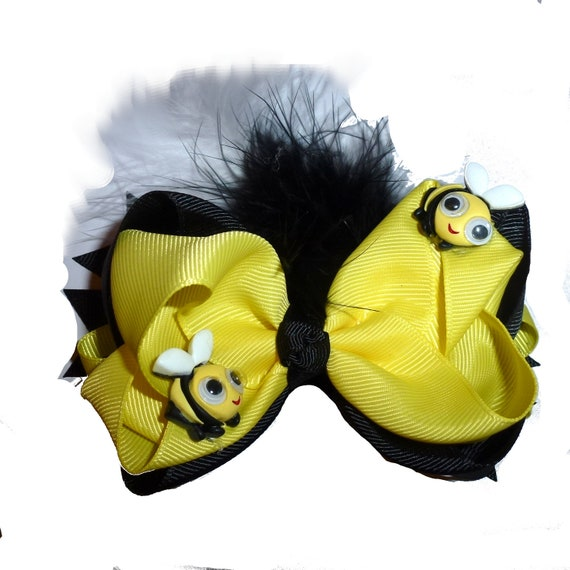 Puppy Bows ~ Bumblebee black and yellow bee feather dog collar slide accessory  ~USA seller (DC2)