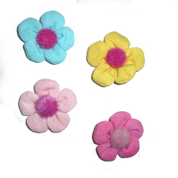 Puppy Bows ~ Collar slide fuzzy button flowers  padded dog barrette or bands  pet hair bow  - (fb325)