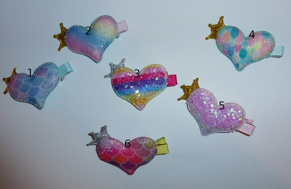 Puppy Bows ~ Rainbow hearts, shiny puffy multicolor barrette hair clips for pets ~USA seller (fb126)