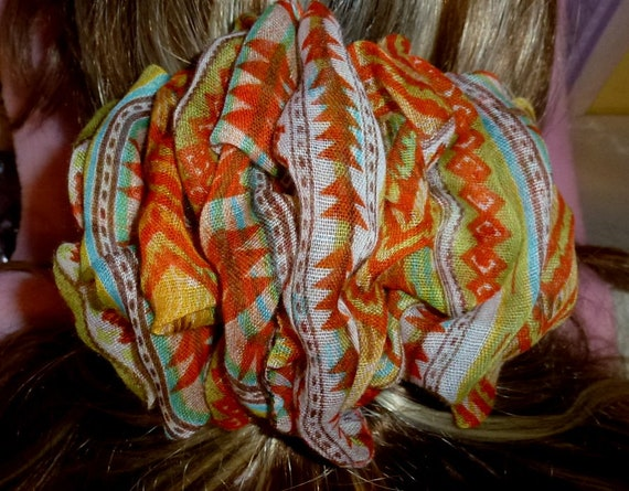 Becky Bows ~  Barrette scarf Hand crafted oversized  BIG hair bow Women or Girls orange ethnic print