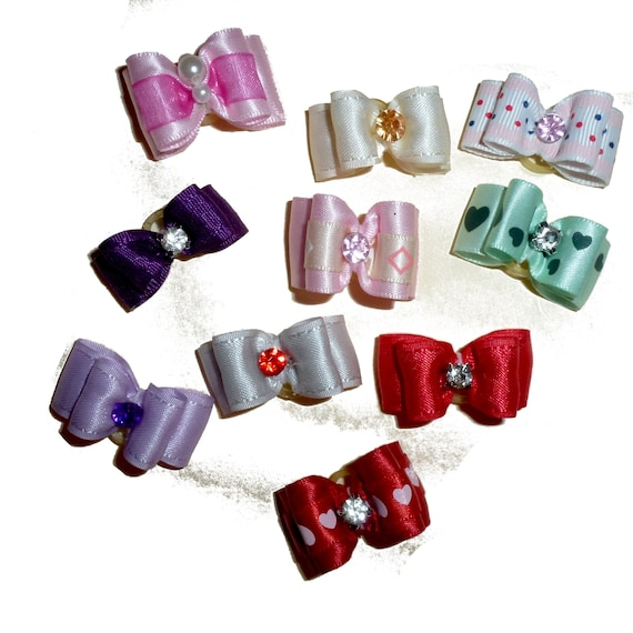 "Puppy Dog Bows ~ 5/8"" set of TEN show bow irregular satin rhinestone"