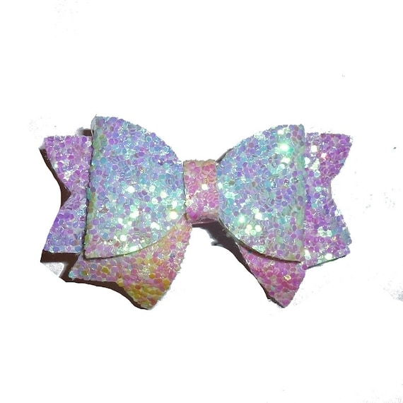 """Puppy Bows ~ pink rainbow small 2"""" glitter pet hair bow  (fb264)"""