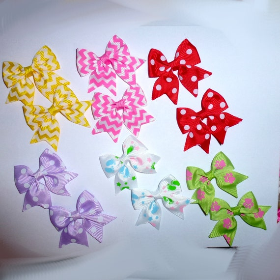 Puppy Bows ~ 12  everyday dog groomers grooming pet hair bows girl colors polka dots chevron stripes paw prints