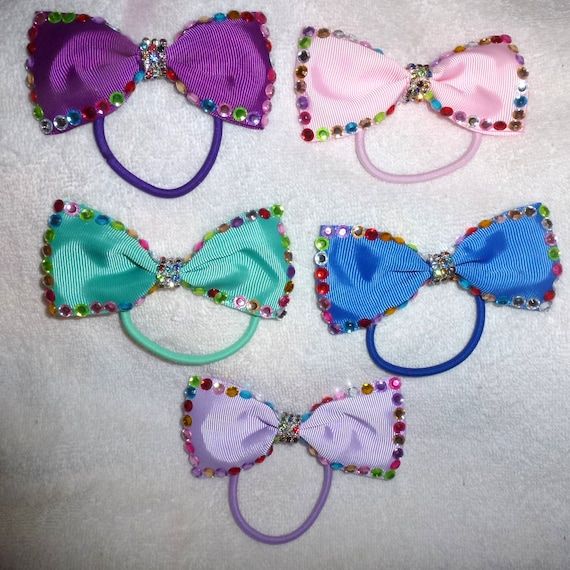 Becky Bows ~ girls ponytail bow colored rainbow gems purple pink turquoise blue