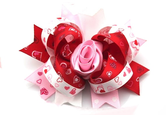 Puppy Bows ~ Valentine rose heart dog bow Valentine's day collar slide flower pink red  ~USA seller (fb162)