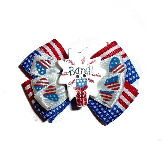Independence day 4th July patriotic fireworks dog pet hair bow (fb329)
