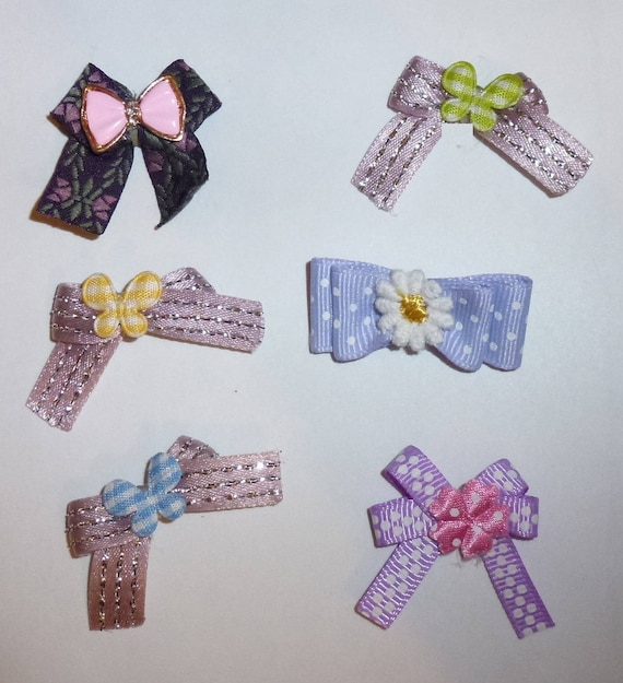 Puppy Bows ~6 tiny purple EVERYDAY BOWS Yorkie Maltese Shih Tzu ~Usa seller (fb81)