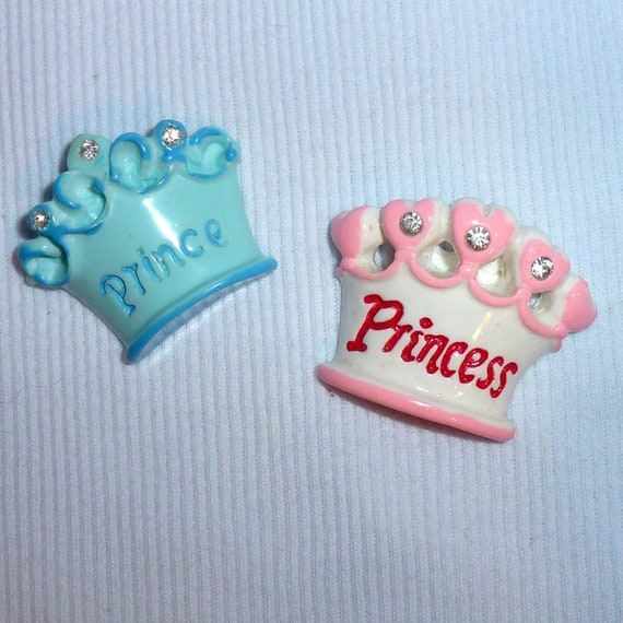 Puppy Bows ~Barrette PRINCE or PRINCESS crown pink blue Boys girls pet hair clip ~USA seller