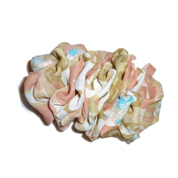 Becky Bows ~  Barrette  chiffon large vintage style scarf Hand crafted over sized  BIG hair light olive peach