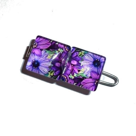 "Tiny 3/4"" pretty purple daisies pet hair clip dog barrette bow (tb25)"