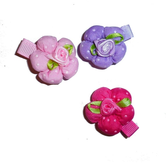 Pink or purple padded puffy dog flower pet hair bow  - (fb255)