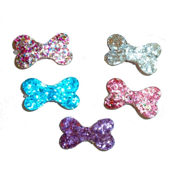 Puppy Bows ~  Glitter topped dog bone pet hair barrette (fb210)