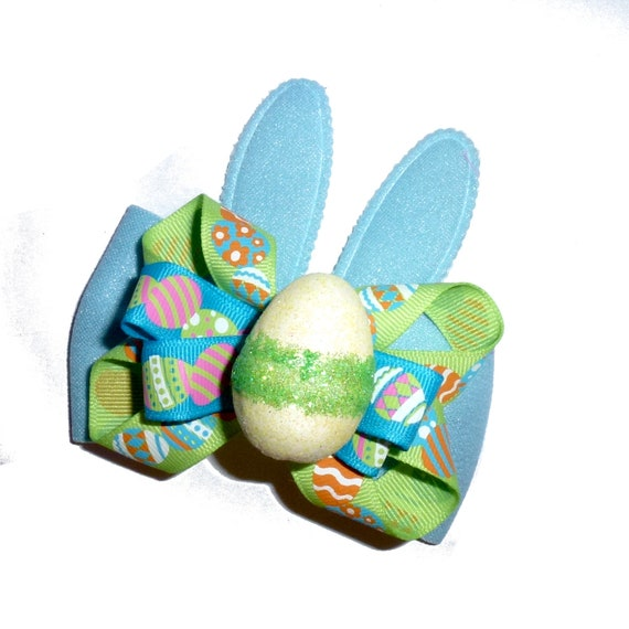 Puppy Bows ~ Easter bunny eggs dog collar slide accessory pink or blue ears   ~USA seller (fb162)