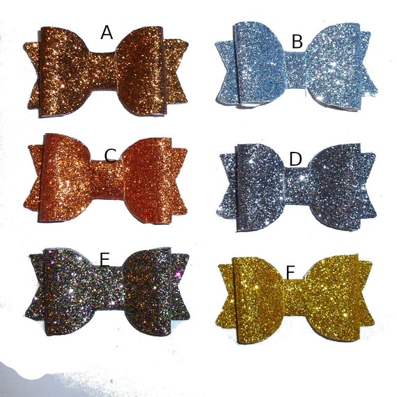 Puppy Bows ~ 2 small glitter pet hair bow BOY COLORS! blue copper silver black with plastic ball clip barrette PAIRS (fb142)
