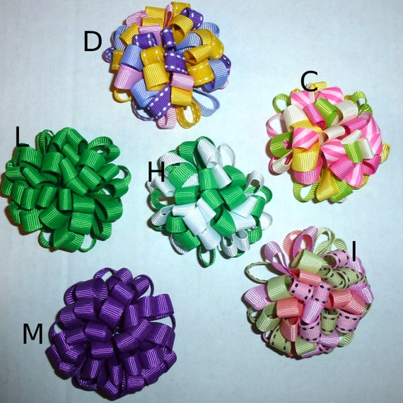 Puppy Bows ~ More Fun multi loopy puff hair bows 13 COLOR CHOICES  barrette or bands pet dog bow